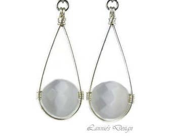 White Teardrop Dangling Earrings with Faceted Cat's Eye Beads, Hooks, Clip Ons, Posts or Lever Backs