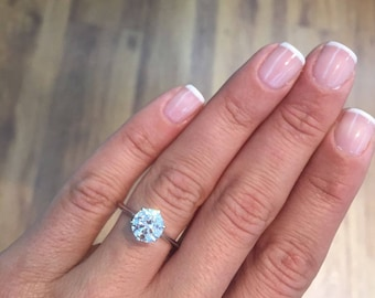 14K White Gold Diamond Engagement Ring 1.58 Carat Round Cut D Color  SI1 #J73189 FREE SHIPPING