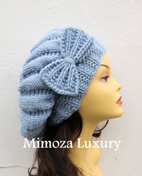 Light Denim Blue Woman Hand Knitted Hat with Bow, light blue Beret hat with bow, blue knit hat, slouchy knit women's hat with bow, denim