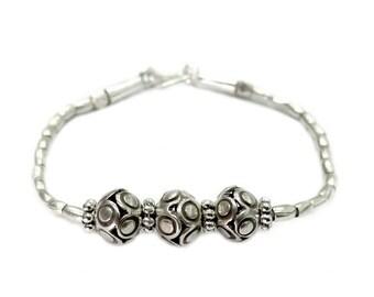 Handmade Sterling Silver Charm Beads Bracelet Bangle Or Anklet, Handmade Round Ethnic Tribal Silver Beads Bracelet Bangle Anklet
