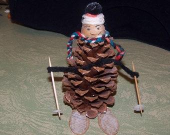Vintage pine cone skier skiing figure Christmas ornament decoration