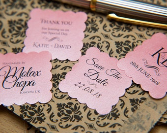 "200 Blush Pink Pearlised 1.5 inch Square Shiny Stickers, Envelope Seals. Custom Pink Stickers. 1.5"" Save the date sticker. Invitation Seals."