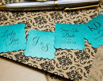 """Teal Pearlised 1.5 inch Square Shiny Stickers, Envelope Seals. Custom Blue Stickers. 1.5"""" Save the date stickers. Invitation Seals."""