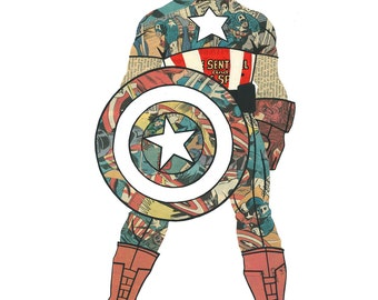 Captain America Print Marvel Comics Superhero Note Cards Avengers