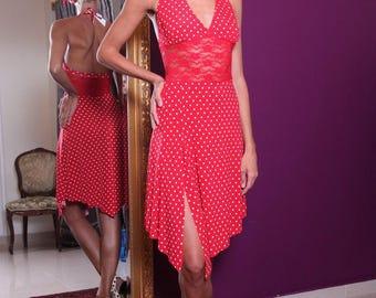 Red Tango Dress with Lace Waist | Red Milonga Dress | Argentine Tango Dance Dress