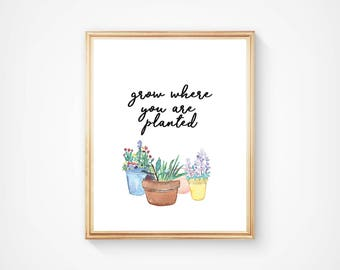 Grow Where You Are Planted, Home Decor/kitchen/dining room, Print INSTANT DOWNLOAD