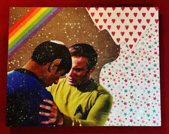 Glittery Star Trek Spirk Kirk/Spock Gay 11x14 Inch Collage