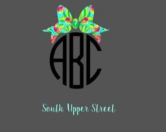 Lilly Bow Monogram Decal | Lilly Pulitzer Inspired | Monogram Decal | Yeti Cup Decal | Bow Decal | Bow Sticker | Glitter Decal | Laptop