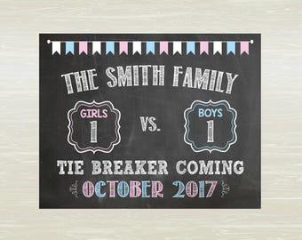 Tie Breaker Pregnancy announcement print; DIGITAL OR PRINTED