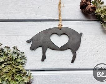 Pig Ornament Rustic Raw Steel Farm Animal Bacon BBQ Ham Metal Heart Christmas Tree Ornament Wedding Favor By BE Creations