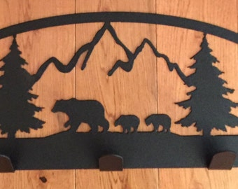 Bear Themed Steel Wall Coat Rack