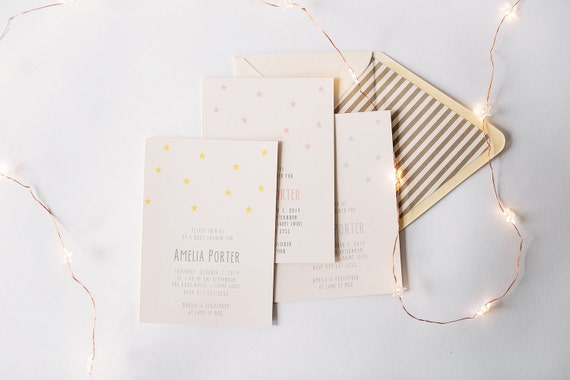 baby shower invitation  - stars - twinkle twinkle  - customizable (sets of 10)  //  lola louie paperie