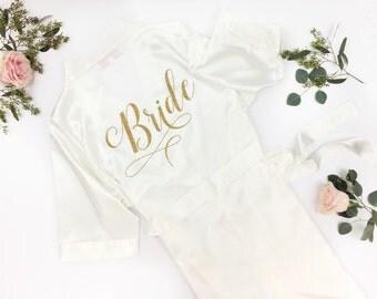 Bride Robe - Wedding Day Robe - Glitter Bridal Robe - Bride Satin  - Lingerie Shower Gift - Bridesmaid Robe -Blush Robe- Maid of Honor Robe