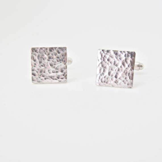 Recycled Sterling Silver - Hammered Square Cuff Links