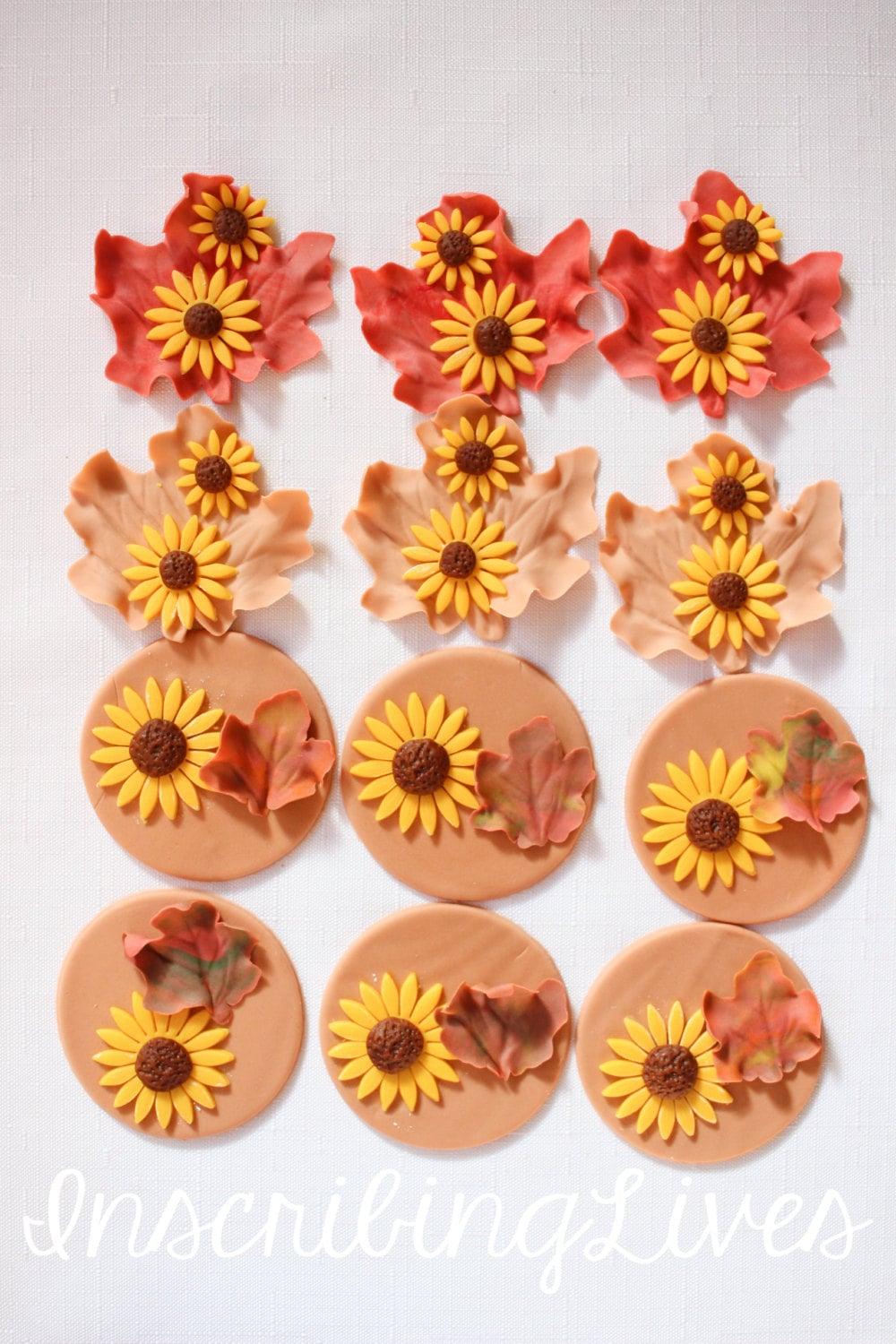 12 fall Thanksgiving edible fondant cupcake cake toppers