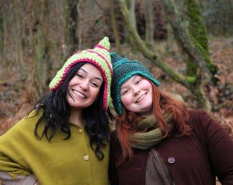 Pointed hat, pixie hat, elf hat, gnome, peruvian hat, crocheted, crochet, green, festival, fantasy, elfin
