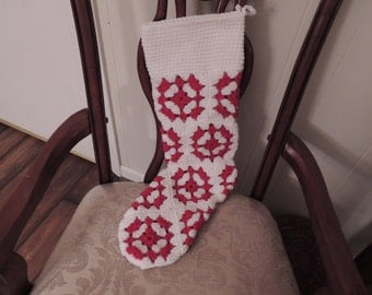 White and Red Hand Crochet Christmas Stocking Granny Square