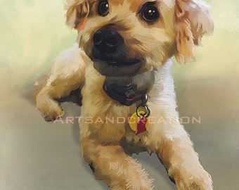 Print Custom Pets Portrait Hand Painted Digital Portrait from your Pets Photo ,dog poster,cat  poster,lowchen  poster,pet poster