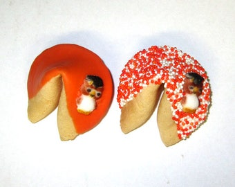 50 GRADUATION OWLS Orange & White Fortune Cookies, Achievement, Cap and Scroll, Congratulations Gift