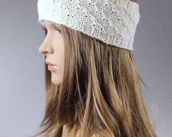 Cable knit headband, chunky knit head wrap, knit ear warmer, knit earwarmer, knit headband, gray knit headband, white knit headband