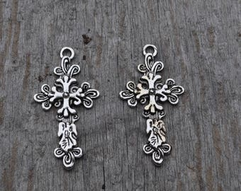 Silver Ornate Cross Charm