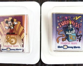 Vintage Walt Disney World  '20 Magical Years'  Anniversary Pin Set of 2 - 1991 - Limited Ed -Unused in Original Boxes