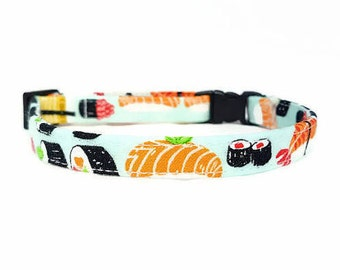 "Cat Collar  -""Sushi"" - Safety Buckle/Breakaway - Light Blue Cat Collar - 100% Cotton Fabric with Webbing Core - Soft/Sturdy - Fun Cat Collar"