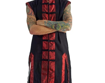 PIRATE SHIRT SLEEVELESS - Renaissance shirt medieval silk festival pirate coat shirt renaissance costume cosplay doublet - Black and Red