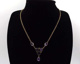 Antique 10ct Gold And Amethyst Necklace | 10k Edwardian Victorian Necklace