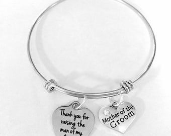 Mother Of The Groom Gift Bangle Bracelet, Thank You For Raising The Man Of My Dreams, Mother In Law Wedding Gift Charm Bangle Bracelet