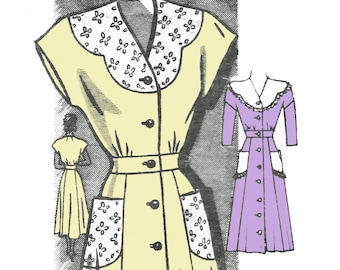1940s Dress Pattern Button Front Day Dress with Scalloped Collar Anne Adams Mail Order Sewing Pattern 4518 Bust 38