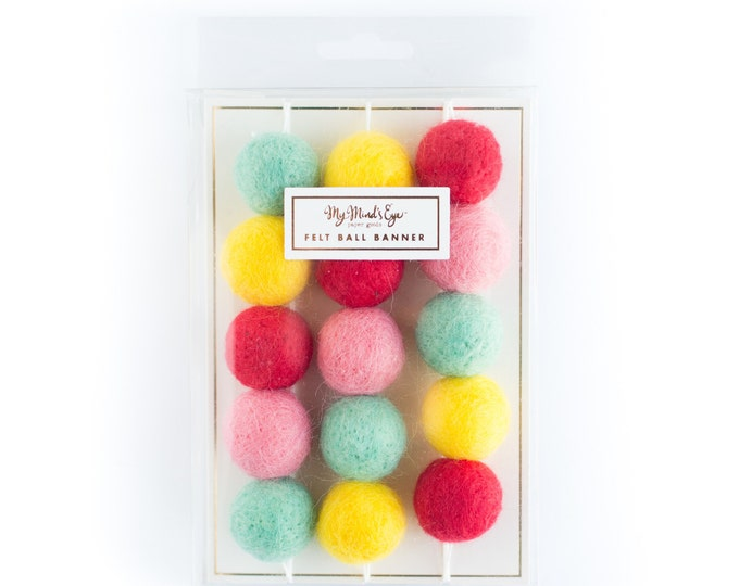 Felt balls, Felt ball banner, HRP205 Felt Ball Garland, Mini Felt balls in Pink, Red Dark Mint/Teal and Yellow Felt Balls,