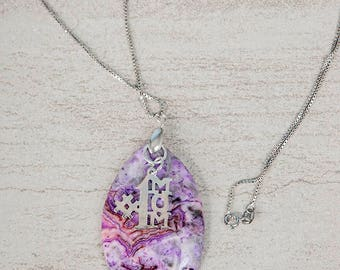 Sterling Silver Crazy Lace Pendant Necklace ~ #1 Mom Necklace ~ Purple Stone Pendant Necklace ~ Silver Mother's Day Necklace ~ Mom Gift