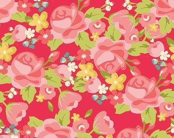 Riley Blake Hello Gorgeous C5690 Main Pink, Red & Coral Floral Quilt Fabric, My Minds Eye, Cotton