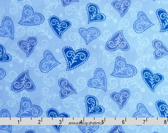 Blue & Purple Heart Fabric, In The Beginning, 6WSD2, Roo by Wendy Slotboom, Lavender, Purple, Blue Heart Quilt Fabric, Cotton