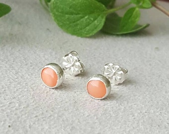 Pink coral earrings, 5 mm, pink stud earrings, coral, pink coral, tiny earrings, coral studs, pink studs, gemstone earrings, peach earrings