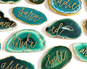 """2.5"""" - 3.5"""" FREEFORM custom calligraphy green agate slices // wedding place cards - seating cards - escort cards"""
