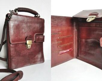 Brown Vintage Leather Travel Bag // Crossbody- Shoulder- Handbag // Gianni Conti