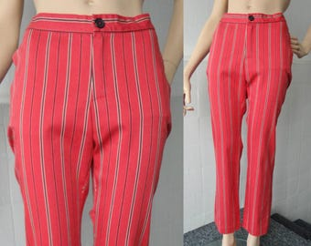 Red Highwaisted Striped Vintage Pants With Stretch // Hand Made // Size M