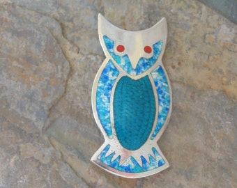 Jeronimo Fuentes ~ Vintage Mexican Sterling Silver and Enamel Owl Pin / Brooch