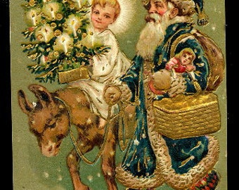 Blue Coat Santa Claus with Donkey 1907 Postcard