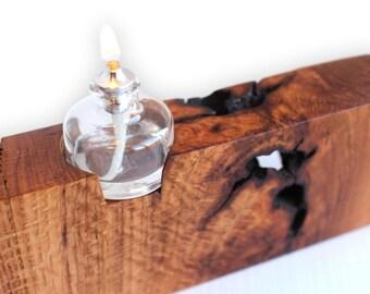 Votive lamp etsy for Wooden kerosene lamp holder