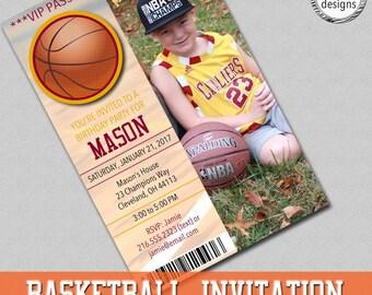 Custom Basketball Invitation, Ticket Invitation, Basketball Ticket Invite, Digital JPEG File