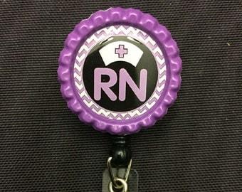 RN, LpN,CnA BottleCap Badge ID Reel Holder-Chevron- Design of Choice