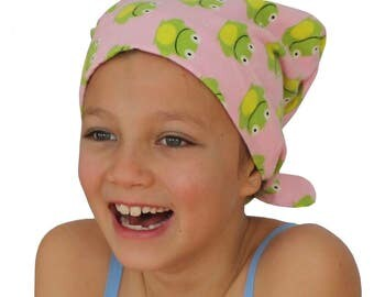 Mia Children's Flannel Head Cover, Girl's Cancer Headwear, Chemo Scarf, Alopecia Hat, Head Wrap, Cancer Gift for Hair Loss - Pink Frogs