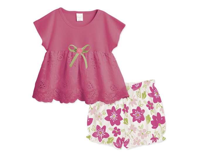 SUMMER SPECIAL! Baby Girl Floral Outfit, Baby Girl Lace Outfit, Baby Pink Eyelet Top & Bloomers, Pink Floral Baby Summer Top TB02EFU000000