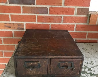 Vintage Yawman & Erbe Wood Card File Two Drawer Cabinet Rustic Primitive