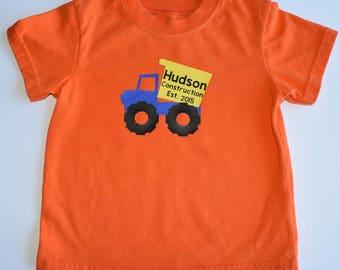 Construction Truck Dump Truck customizable boys t-shirt