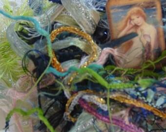 "33 yds.""Mermaid Play""fiber art yarn bundle/mixed media fiber collage/mermaid art inspiration/sparkle mixed trim/textile art/novelty yarn"