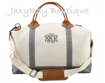 Monogrammed Weekender Bag Christmas gift Gray color Personalized Duffel Bag bridesmaid Gift Canvas Duffle Bag